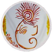 Round Beach Towel featuring the painting Artistic Lord Ganesha by Sonali Gangane