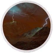 Artists Concept Of Lightning In Venus Round Beach Towel