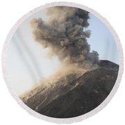 Ash Cloud From Vulcanian Eruption Round Beach Towel
