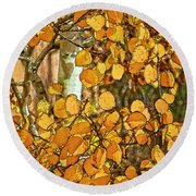 Aspens Gold Round Beach Towel