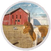 Round Beach Towel featuring the painting At Home by Norm Starks