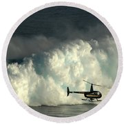 At Peahi Round Beach Towel by Vivian Christopher