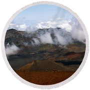 At The Rim Of The Crater Round Beach Towel by Patricia Griffin Brett