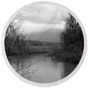 Round Beach Towel featuring the photograph At The River Turn Bw by Kathleen Grace