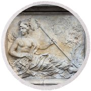 Athena Relief In Gdansk Round Beach Towel