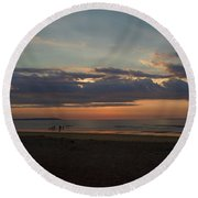 Round Beach Towel featuring the photograph Atlantic Sunrise by Nancy Griswold