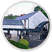 Round Beach Towel featuring the photograph Auld Mill  by Charlie and Norma Brock