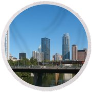 Austin Texas 2012 Skyline And Water Reflections Round Beach Towel by Connie Fox