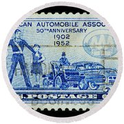 Round Beach Towel featuring the photograph Automobile Association Of America by Andy Prendy