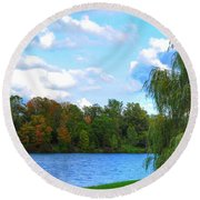 Round Beach Towel featuring the photograph Autumn At Hoyt Lake by Michael Frank Jr