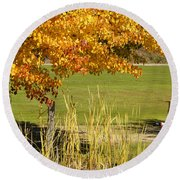 Autumn At The Schoolground Round Beach Towel by Mick Anderson