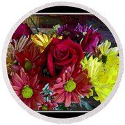 Round Beach Towel featuring the digital art Autumn Boquet by Debbie Portwood