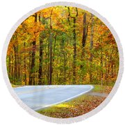 Round Beach Towel featuring the photograph Autumn Drive by Lydia Holly