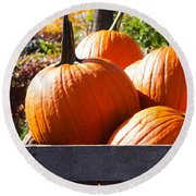 Autumn Harvest Round Beach Towel by Julia Wilcox