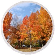 Round Beach Towel featuring the photograph Autumn Leaves by Athena Mckinzie