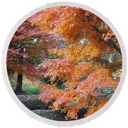 Autumn Momiji Round Beach Towel