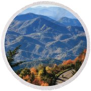 Round Beach Towel featuring the photograph Autumn On The Blue Ridge Parkway by Lynne Jenkins