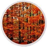 Autumn Red Maple Landscape Round Beach Towel
