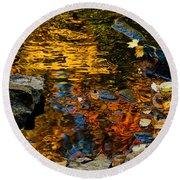 Autumn Reflections Round Beach Towel by Cheryl Baxter