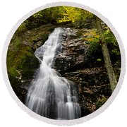 Autumn Waterfall Round Beach Towel