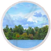 Round Beach Towel featuring the photograph Autumn's Beauty At Hoyt Lake by Michael Frank Jr