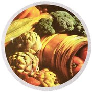 Round Beach Towel featuring the photograph Autumn's Bounty by Sharon Duguay