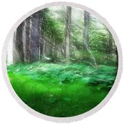 Round Beach Towel featuring the photograph Avalon Forest Dreamscape by Mario Carini
