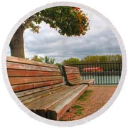 Round Beach Towel featuring the photograph Awaiting by Michael Frank Jr