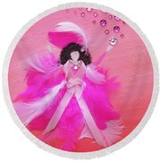 Round Beach Towel featuring the painting Awareness by Alys Caviness-Gober