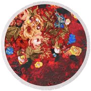 Round Beach Towel featuring the painting Baba's Garden Lg by Alys Caviness-Gober