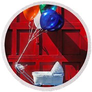 Baby Buggy With Balloons  Round Beach Towel