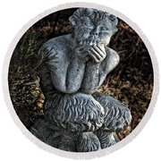 Baby Pan Statue Round Beach Towel