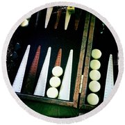 Round Beach Towel featuring the photograph Backgammon Anyone by Nina Prommer