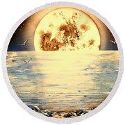 Bad Moon Rising Round Beach Towel