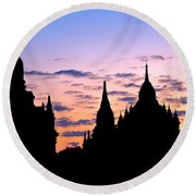 Round Beach Towel featuring the photograph Bagan by Luciano Mortula