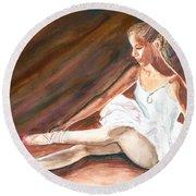 Round Beach Towel featuring the painting Ballet Dancer by Clara Sue Beym