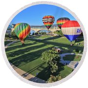 Balloons In Coolidge Park Round Beach Towel