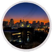 Round Beach Towel featuring the photograph Baltimore At Sunset by Mark Dodd