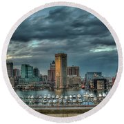 Round Beach Towel featuring the photograph Baltimore Inner Harbor Pano by Mark Dodd