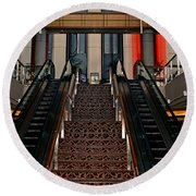Round Beach Towel featuring the photograph Baltimore Stairway by Karen Harrison