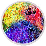 Round Beach Towel featuring the painting Baptism Of The Lord Jesus by Gloria Ssali