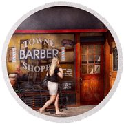 Barber - Barbershop - Time For A Haircut Round Beach Towel
