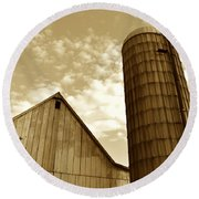 Barn And Silo In Sepia Round Beach Towel
