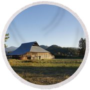 Barn In The Applegate Round Beach Towel by Mick Anderson