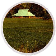 Round Beach Towel featuring the photograph Barn In The Style Of The 60s by Mick Anderson