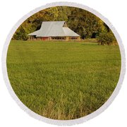 Round Beach Towel featuring the photograph Barn Near Murphy by Mick Anderson