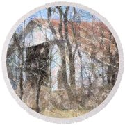 Barn Through Trees Round Beach Towel