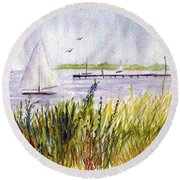 Round Beach Towel featuring the painting Barnegat Sails by Clara Sue Beym