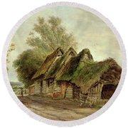 Barns At Flatford Round Beach Towel by John Moore of Ipswich