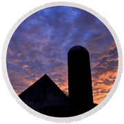 Barnyard Sunrise I Round Beach Towel